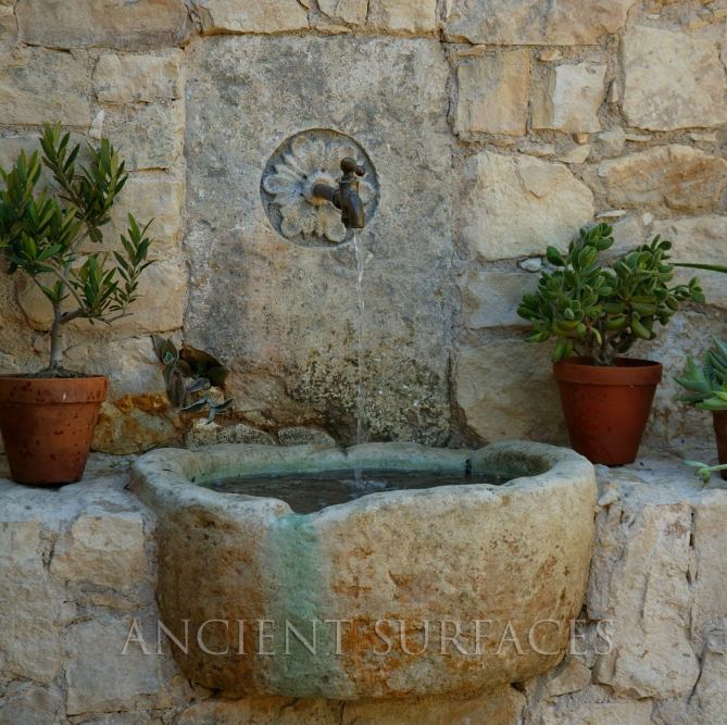 Antique Wall Fountain With and Reclaimed Stone Trough by Ancient Surfaces