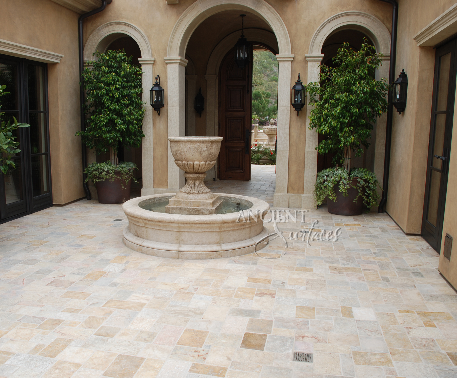 The antique pool stone fountain and the enchanted for Flooring surfaces