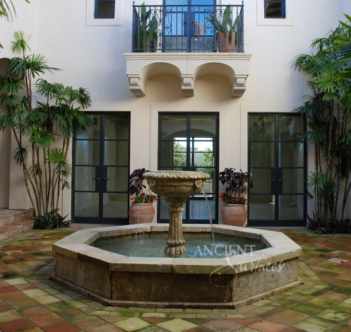 Antique Pool Fountain in an Inclosed Californian Courtyard Provided by Ancient Surfaces