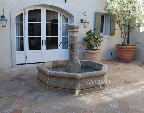 Crystal Cove Showcase House Inclosed Courtyard Stone Fountain by Ancient Surfaces