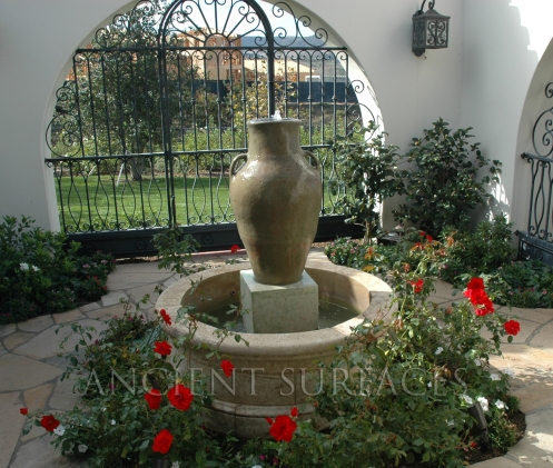 Antique Stone Wellhead Pool Style courtyard Fountain Provided by Ancient Surfaces.