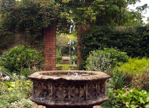 Outdoor landscaping with stone water Fountains-1