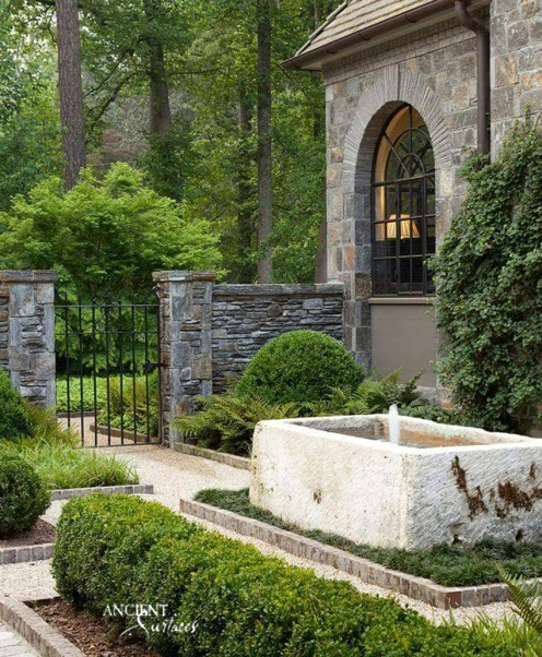 Outdoor landscaping with stone water Fountains-11