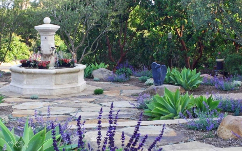 Outdoor landscaping with stone water Fountains-4