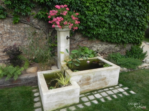 Outdoor landscaping with stone water Fountains-7