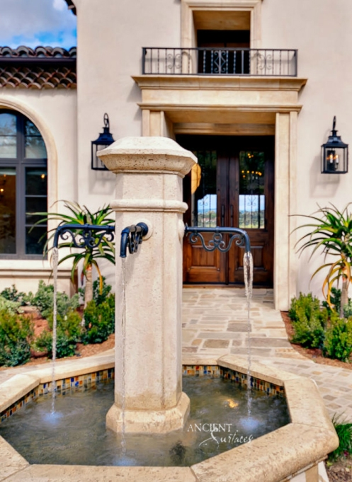 Outdoor landscaping with stone water Fountains-8