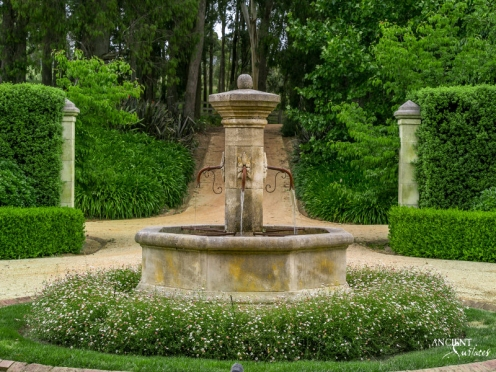 Outdoor landscaping with stone water pool Fountains-15