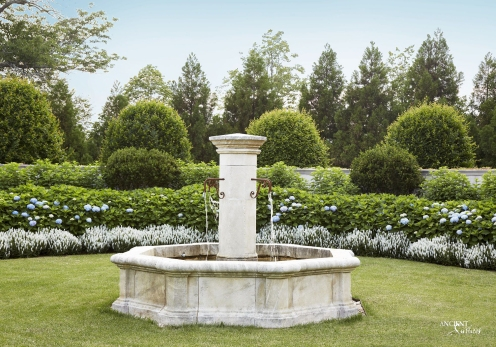 Outdoor landscaping with stone water pool Fountains-17