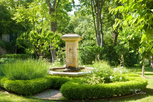 Outdoor landscaping with stone water pool Fountains-19